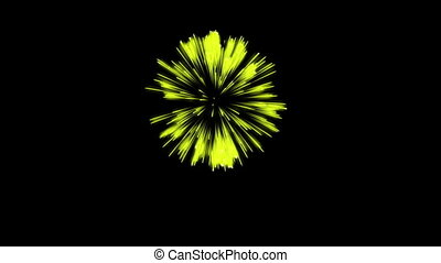 Colorful single firework at night. Spectacular single firework firecrakers 3d render. Yellow version 19