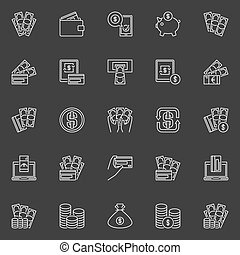 Money and Payment line icons. Vector financial minimal...