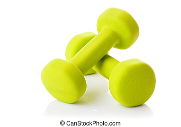 Two dumbbells on a white background
