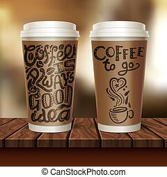 Coffee To Go Two Cup Composition - Realistic coffee to go...
