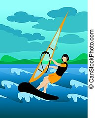Colorful Extreme Windsurfing Sport Background - Colorful...