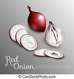 Natural Red Onion Concept - Natural red onion concept with...