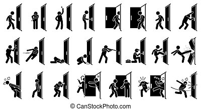 Man at Door - Cartoon depict various actions of a man with a...