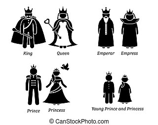 Royal Family. - Pictogram set depicts the cartoon characters...