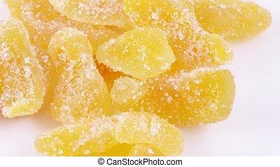 Pile of slices cantaloupe - Rotation of a pile of cantaloupe...