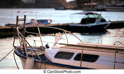 Excursion boats - Several boats are on the dock in a...