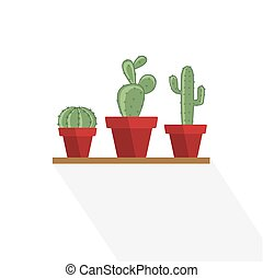 Cactus in a flower pot - Set vector illustration of a cactus...