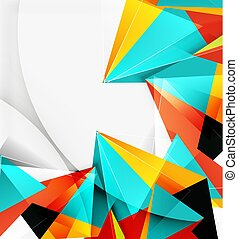 3d triangles and pyramids, abstract geometric vector...