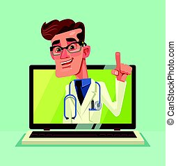 Online doctor man character look out laptop. Modern new technology. Vector flat cartoon illustration