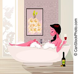 Happy smiling woman character taking bath relaxing and drink wine. Vector flat cartoon illustration