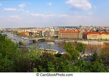 Scenic view of bridges on the Vltava river and of the historical center of Prague