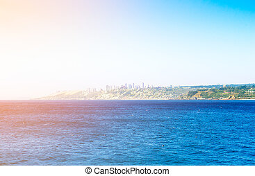 Pacific ocean with buildings of Vina del Mar, Chile
