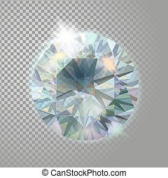 Crystal diamond brilliant gem jewelry precious stone. Realistic 3d detailed vector illustration on transparent background