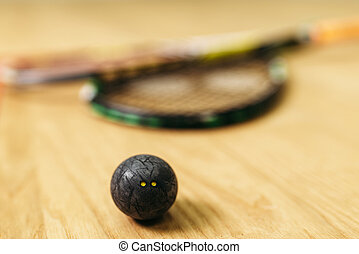 Pelota, concepto, calabaza, juego, Primer plano, raqueta,...