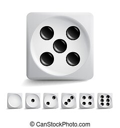 Playing Dice Vector Set. Different Variants Game Cubes...