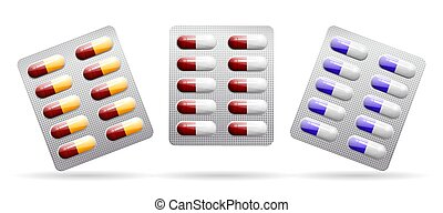Packing of tablets. Capsules of different colors. Vector .