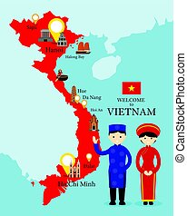 Vietnam Map and Landmarks with People in Traditional...