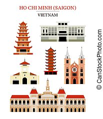 Saigon Vietnam Landmarks Architecture Building Object Set