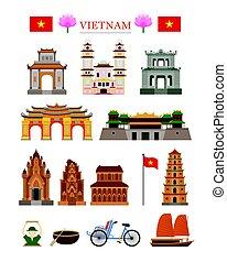 Vietnam Landmarks Architecture Building Object Set - Famous...