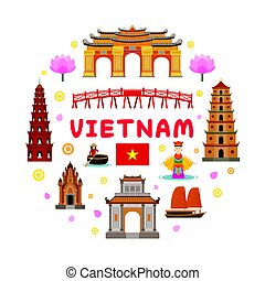 Vietnam Travel Attraction Label - Landmarks, Tourism and...