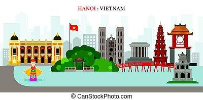 Hanoi, Hoan Kiem Lake, Vietnam Landmarks Skyline -...