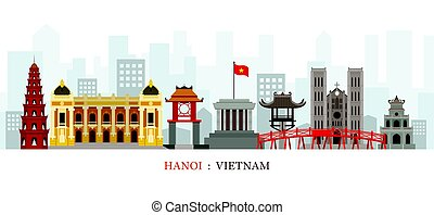 Hanoi Vietnam Landmarks Skyline - Cityscape, Travel and...