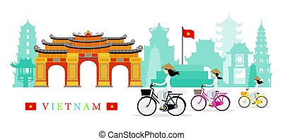 Vietnamese Women with Conical Hat Ride Bicycles, Landmarks...