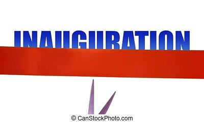INAUGURATION concept with cutting ribbon - INAUGURATION on...
