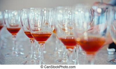 the glasses of brandy on the table
