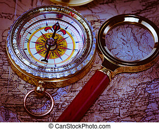 Compass magnifying card - Old golden compass with magnifier...