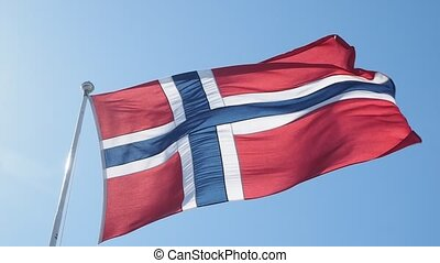 Norwegian flag moving towards right on a pole, towards clear...