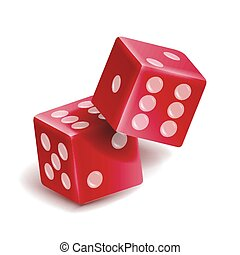 Playing Dice Vector Set. Realistic 3D Illustration Of Two Red Dice With Shadow. Game Dice Set