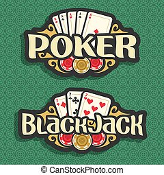 Vector logo Poker and Black Jack: playing cards four aces...