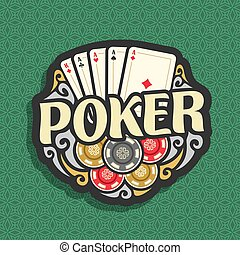 Vector logo Poker: playing cards combination four of kind...