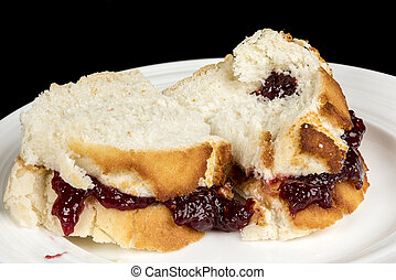 Close up of a Peanut Butter and Jelly sandwich - Lunch...