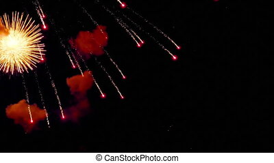 Fireworks flashing in the evening