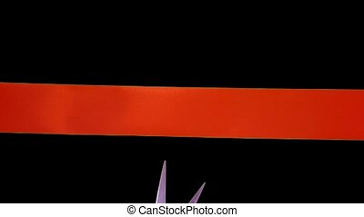 Cutting ribbon on green screen - Cutting red ribbon over...