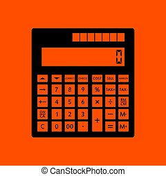 Statistical calculator icon. Orange background with black....