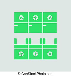 Circuit breaker icon. Gray background with green. Vector...
