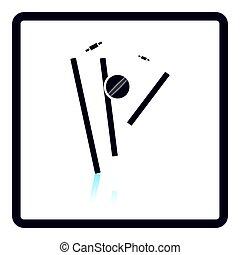 Cricket wicket icon. Shadow reflection design. Vector...