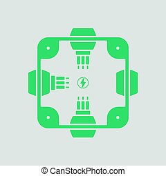 Electrical junction box icon. Gray background with green....