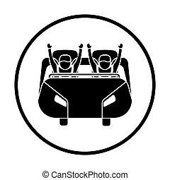 Roller coaster cart icon. Thin circle design. Vector...