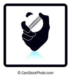 Hand holding cricket ball icon. Shadow reflection design....