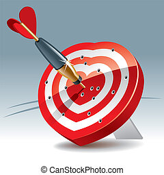 Heart Target - Heart Shaped Darts Target with sticking Arrow...