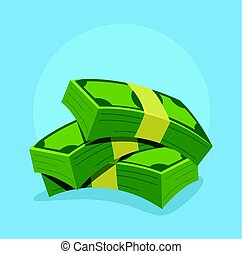 Green colored isolated pile of money icon. Vector flat cartoon illustration