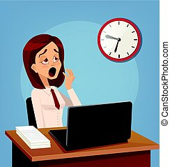 Tired sad busy office worker woman character yawn. Vector...