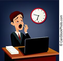 Tired sad busy office worker man character yawn. Vector flat...