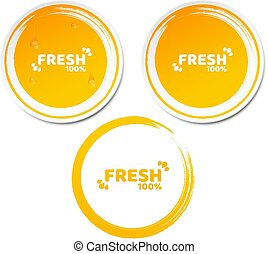 100 percent fresh product. Set of orange stickers in 3d...