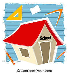 school building - illustration of school building with...