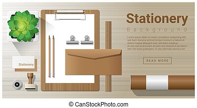 Stationery background with office equipment on wooden table 7